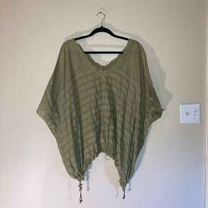 Free People green loose fitted blouse